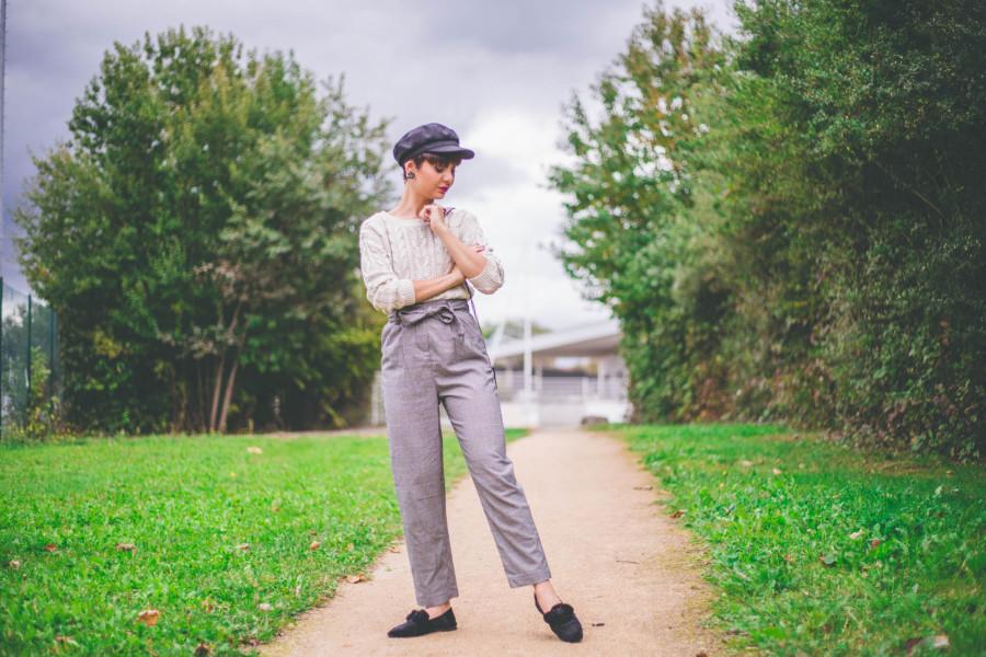 pantalon taille haute pied de poule