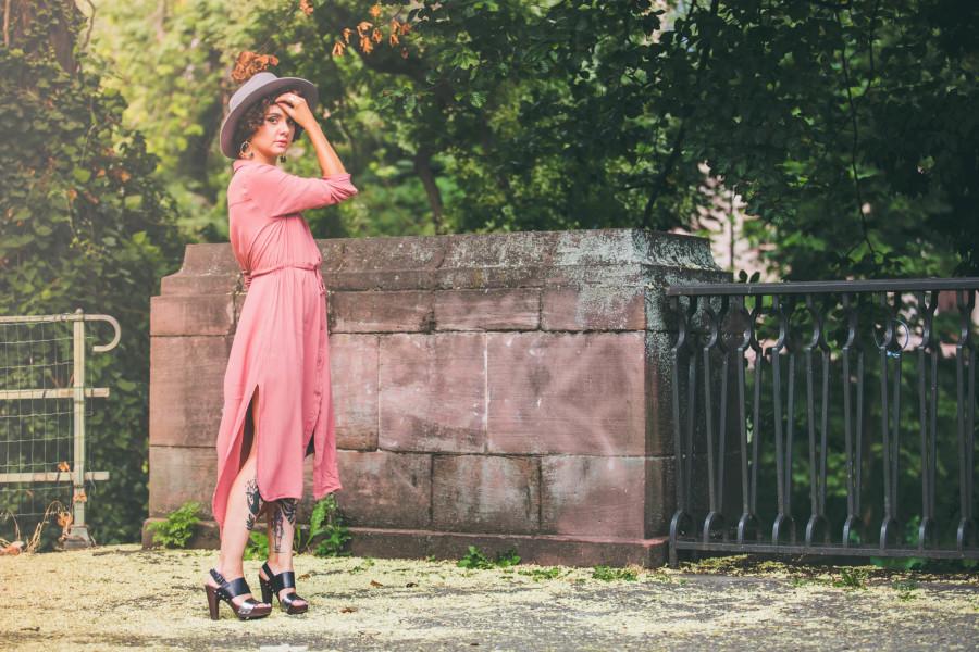 robe femme longue été rose poudré pas cher